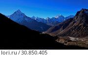 Купить «Landscape on the way to the Everest base camp. Mount Ama Dablam. Hotels in Dughla.», фото № 30850405, снято 4 июля 2020 г. (c) age Fotostock / Фотобанк Лори