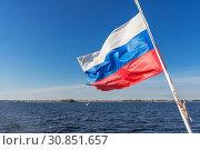 Купить «Russian flag on the background of the river and the shore», фото № 30851657, снято 25 мая 2019 г. (c) Дмитрий Тищенко / Фотобанк Лори