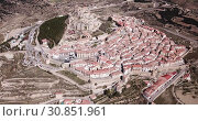 Купить «Aerial view of impregnable fortress in medieval village Morella, Spain», видеоролик № 30851961, снято 10 марта 2019 г. (c) Яков Филимонов / Фотобанк Лори