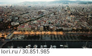 Купить «View from drones of sailboats and yachts in old port of Barcelona and gothic quarter at night», видеоролик № 30851985, снято 28 сентября 2018 г. (c) Яков Филимонов / Фотобанк Лори