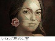 Купить «Contemporary art poster abstract collage with attractive woman. Minimal design concept. Modern art.», иллюстрация № 30856781 (c) bashta / Фотобанк Лори