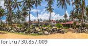 Панорама уютного отеля среди кокосовых пальм Sanmali Beach Hotel на берегу Индийского океана, Маравила, Шри-Ланка (2019 год). Редакционное фото, фотограф Владимир Сергеев / Фотобанк Лори