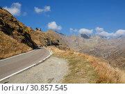 Природный парк Texelgruppe. Панорамная высокогорная дорога. Вид на смотровую площадку Телескоп. Южный Тироль, Италия. (2018 год). Стоковое фото, фотограф Bala-Kate / Фотобанк Лори