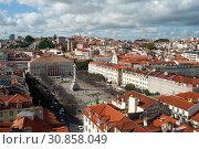 Купить «Lisbon, Portugal, view to the Rossio or Praca Dom Pedro IV », фото № 30858049, снято 11 июня 2018 г. (c) Caro Photoagency / Фотобанк Лори