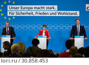 Berlin, Germany - Annegret Kramp-Karrenbauer, Manfred Weber and Markus Soeder at a press conference. (2019 год). Редакционное фото, агентство Caro Photoagency / Фотобанк Лори