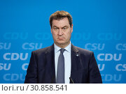 Berlin, Germany - Markus Soeder, CSU leader and State Premier of Bavaria. (2019 год). Редакционное фото, агентство Caro Photoagency / Фотобанк Лори