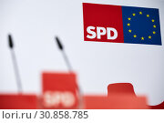 Купить «Berlin, Germany - Red lectern at the SPD headquarters. », фото № 30858785, снято 18 марта 2019 г. (c) Caro Photoagency / Фотобанк Лори