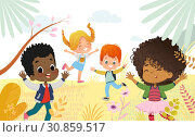 Купить «Multicultural Boys and girls happily jump. Kids Play outdors. Colorful flowers and trees at the background», иллюстрация № 30859517 (c) Olga Petrakova / Фотобанк Лори