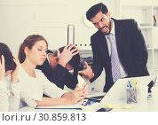 Купить «Irritated boss scolding subordinates», фото № 30859813, снято 23 июля 2019 г. (c) Яков Филимонов / Фотобанк Лори