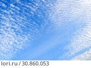 Купить «Sunset colorful sky background - blue dramatic colorful clouds lit by evening sun», фото № 30860053, снято 18 октября 2018 г. (c) Зезелина Марина / Фотобанк Лори