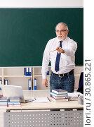 Купить «Aged male teacher in front of chalkboard», фото № 30865221, снято 20 декабря 2018 г. (c) Elnur / Фотобанк Лори