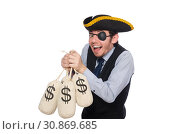 Купить «Businessman pirate isolated on white background», фото № 30869685, снято 16 марта 2015 г. (c) Elnur / Фотобанк Лори