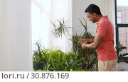 Купить «indian man taking care of houseplants at home», видеоролик № 30876169, снято 27 мая 2019 г. (c) Syda Productions / Фотобанк Лори