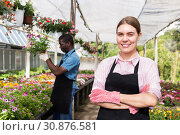 Florist woman posing in glasshouse. Стоковое фото, фотограф Яков Филимонов / Фотобанк Лори