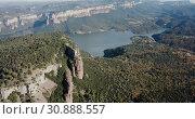 Купить «Scenic panoramic view from high point of Sau reservoir, Catalonia, at autumn day», видеоролик № 30888557, снято 16 ноября 2018 г. (c) Яков Филимонов / Фотобанк Лори