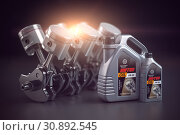 Купить «Engine, crankshaft and pistons with motor oil canister. Auto service concept.», фото № 30892545, снято 18 июня 2019 г. (c) Maksym Yemelyanov / Фотобанк Лори