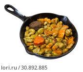 Купить «Catalan beans with blood sausage, chorizo, bacon», фото № 30892885, снято 23 июля 2019 г. (c) Яков Филимонов / Фотобанк Лори