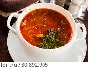Купить «Russian cuisine - solyanka soup with various ingredients», фото № 30892905, снято 26 июня 2019 г. (c) Яков Филимонов / Фотобанк Лори