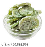 Купить «Bowl with freeze-dried kiwi fruits», фото № 30892969, снято 25 августа 2019 г. (c) Яков Филимонов / Фотобанк Лори