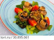 Купить «Baked mushrooms with greens and vegetables», фото № 30895061, снято 16 июня 2019 г. (c) Яков Филимонов / Фотобанк Лори