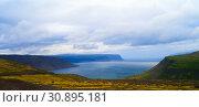 Panorama view of Arnarfjordur, Western fjords Iceland (2011 год). Стоковое фото, фотограф Сергей Майоров / Фотобанк Лори