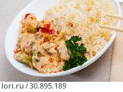Купить «Chicken fillet red curry with jasmine rice», фото № 30895189, снято 20 июля 2019 г. (c) Яков Филимонов / Фотобанк Лори