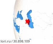 Azerbaijan on metallic globe with watery blue oceans. 3D illustration. Стоковое фото, фотограф Zoonar.com/Tomas Griger / easy Fotostock / Фотобанк Лори