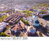 Panoramic aerial view of city of Kursk with buildings and landscape (2019 год). Стоковое фото, фотограф Яков Филимонов / Фотобанк Лори