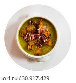 Купить «Cream soup of zucchini with ham», фото № 30917429, снято 26 июня 2019 г. (c) Яков Филимонов / Фотобанк Лори