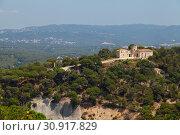 Chapel and tower of Santa Barbara. Costa Brava, Catalonia, Spain. (2013 год). Стоковое фото, фотограф Анна Иноземцева / Фотобанк Лори