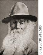 Walter 'Walt' Whitman, 1819 - 1892. American poet, essayist and journalist. From Bibby's Annual, published 1915. Редакционное фото, фотограф Hilary Jane Morgan / age Fotostock / Фотобанк Лори
