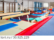 Купить «Various gymnastic equipment at acrobatic center», фото № 30925229, снято 27 июня 2020 г. (c) Яков Филимонов / Фотобанк Лори