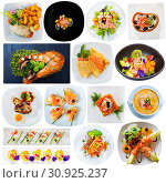 Tasty different dishes with red fish served at plates isolated on white. Стоковое фото, фотограф Яков Филимонов / Фотобанк Лори