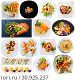 Купить «Tasty different dishes with red fish served at plates isolated on white», фото № 30925237, снято 16 июля 2019 г. (c) Яков Филимонов / Фотобанк Лори