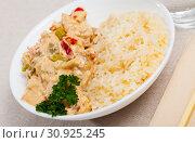 Купить «Red thai curry with jasmine rice», фото № 30925245, снято 31 мая 2020 г. (c) Яков Филимонов / Фотобанк Лори