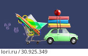 Купить «Back to school car animation», видеоролик № 30925349, снято 6 июня 2019 г. (c) Сергей Петерман / Фотобанк Лори