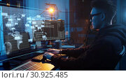 Купить «hacker using computer virus for cyber attack», видеоролик № 30925485, снято 26 июня 2019 г. (c) Syda Productions / Фотобанк Лори