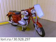 Купить «KYIV, UKRAINE - MARCH 25, 2016: An old motorcycle at an automobile exhibition in Mezhgore Ukraine», фото № 30928297, снято 25 марта 2016 г. (c) easy Fotostock / Фотобанк Лори
