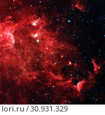 The North America nebula is an emission nebula in the constellation Cygnus, close to Deneb. Infrared view from NASA's Spitzer Space Telescope. Retouched... Стоковое фото, фотограф Zoonar.com/Irina Dmitrienko / easy Fotostock / Фотобанк Лори