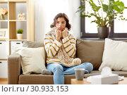 Купить «sad sick woman in scarf at home», фото № 30933153, снято 6 марта 2019 г. (c) Syda Productions / Фотобанк Лори