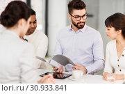 Купить «recruiters having job interview with employee», фото № 30933841, снято 23 марта 2019 г. (c) Syda Productions / Фотобанк Лори