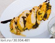 Купить «Baked turkey breast stuffed with prunes», фото № 30934481, снято 21 января 2020 г. (c) Яков Филимонов / Фотобанк Лори