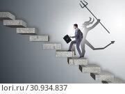 Купить «Businessman with alter ego climbing career ladder», фото № 30934837, снято 20 октября 2019 г. (c) Elnur / Фотобанк Лори