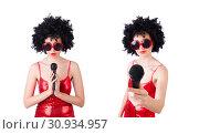 Купить «Pop star with mic in red dress on white», фото № 30934957, снято 31 января 2013 г. (c) Elnur / Фотобанк Лори
