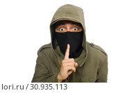 Купить «Criminal wearing mask isolated on white», фото № 30935113, снято 19 декабря 2014 г. (c) Elnur / Фотобанк Лори
