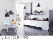 Купить «modern scandinavian style kitchen interior.», фото № 30944045, снято 13 ноября 2019 г. (c) Виктор Застольский / Фотобанк Лори