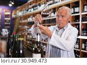 Купить «Wine producer inspecting quality of wine», фото № 30949473, снято 8 мая 2019 г. (c) Яков Филимонов / Фотобанк Лори