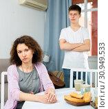Купить «Sad woman after discord with teen son», фото № 30949533, снято 6 июня 2020 г. (c) Яков Филимонов / Фотобанк Лори