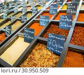 Купить «Ряды контейнеров со специями на продуктовом рынке», фото № 30950509, снято 24 марта 2019 г. (c) Вячеслав Палес / Фотобанк Лори
