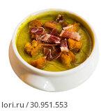 Купить «Cream soup of zucchini with ham», фото № 30951553, снято 18 июля 2019 г. (c) Яков Филимонов / Фотобанк Лори